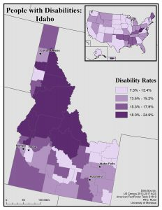 Map of Idaho showing disability rates by county. See Idaho State Profile page for full text description.