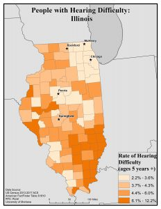 Map of Idaho showing rates of people with hearing difficulty by county. See Idaho State Profile page for full text description.