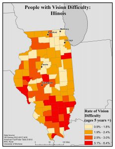 Map of Idaho showing rates of people with vision difficulty by county. See Idaho State Profile page for full text description.