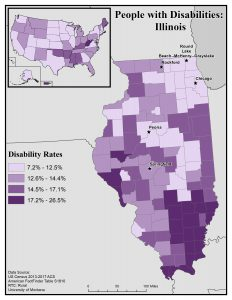 Map of Illinois showing disability rate by county. See IL State Profile for full text description.