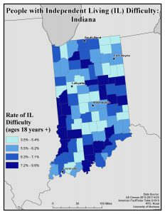 Map of IN showing rates of people with IL difficulty by county. See IN State Profile page for text description.