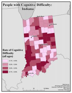 Map of IN showing rates of people with cognitive difficulty by county. See IN State Profile page for text description.