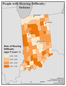 Map of IN showing rates of people with hearing difficulty by county. See IN State Profile page for text description.
