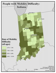 Map of IN showing rates of people with mobility difficulty by county. See IN State Profile page for text description.