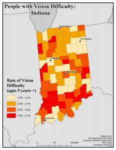 Map of IN showing rates of people with vision difficulty by county. See IN State Profile page for text description.