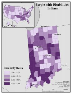Map of Indiana showing disability rates by county. See Indiana State Profile page for full text description.