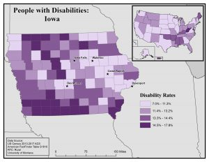 Map of Iowa showing disability rates by county. See Iowa State Profile page for full text description.