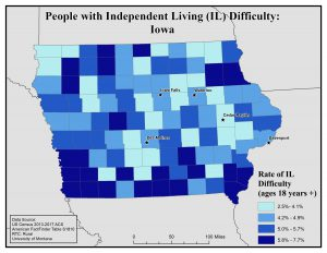 Map of Iowa showing rates of people with IL difficulty. See Iowa State Profile page for full text description.