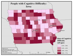 Map of Iowa showing rates of people with cognitive difficulty by county. See Iowa State Profile page for full text description.