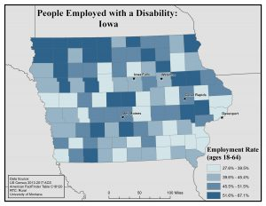 Map of Iowa showing rates of people with disability employed. See Iowa page for text description.