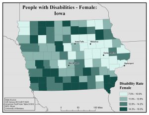 Map of Iowa showing rates of females with disability. See Iowa page for text description.