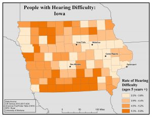 Map of Iowa showing rates of people with hearing difficulty by county. See Iowa State Profile page for full text description.