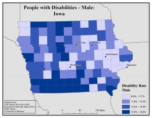 Map of Iowa showing rates of males with disability. See Iowa page for text description.
