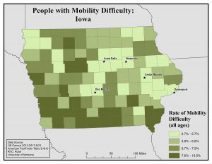 Map of Iowa showing rates of people with mobility difficulty by county. See Iowa State Profile page for full text description.