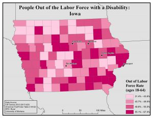 Map of Iowa showing rates of people with disability out of labor force. See Iowa page for text description.