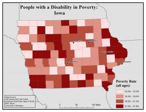 Map of Iowa showing rates of people with disability in poverty. See Iowa page for text description.