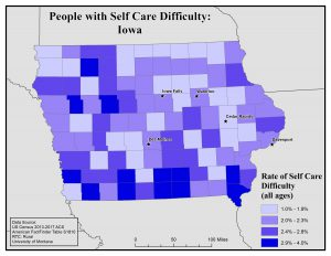 Map of Iowa showing rates of people with self care difficulty by county. See Iowa State Profile page for full text description.