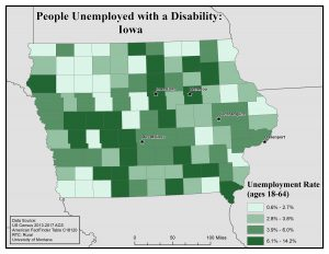 Map of Iowa showing rates of people with disability unemployed. See Iowa page for text description.