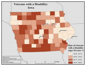 Map of Iowa showing rates of veterans with disability. See Iowa page for text description.