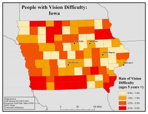 Map of Iowa showing rates of people with vision difficulty by county. See Iowa State Profile page for full text description.