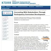 screenshot of the Cocreating With Stakeholders Through Participatory Curriculum Development casebook on the KTDRR website