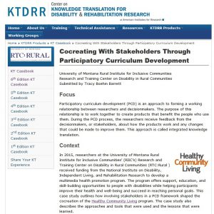 Screenshot of the Cocreating with stakeholders through Participatory curriculum development KT Casebook