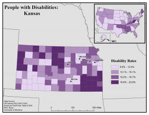 Map of Kansas showing disability rates by county. See KS State Profile page for full text description.