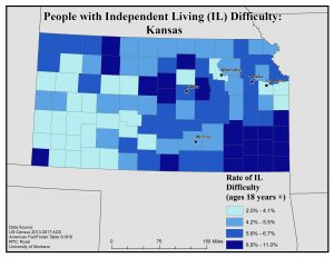 Map of Kansas showing rates of people with IL difficulty by county. See Kansas State Profile page for full text description.