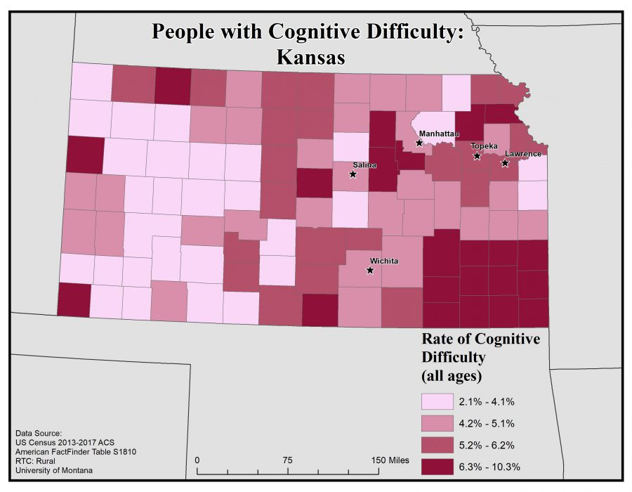 Map of Kansas showing rates of people with cognitive difficulty by county. See Kansas State Profile page for full text description.