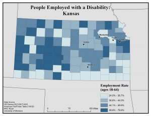 Map of Kansas showing people with disability who are employed by county. See Kansas State Profile page for full text description.
