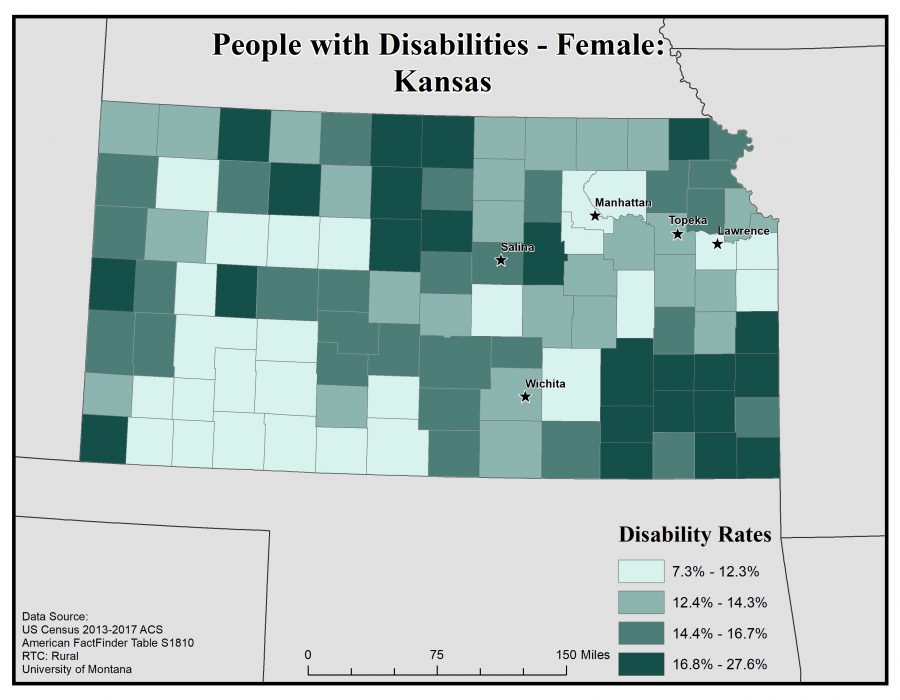 Map of Kansas showing rates of females with disabilities by county. See Kansas State Profile page for full text description.