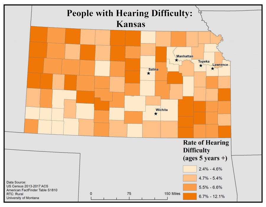 Map of Kansas showing rates of people with hearing difficulty by county. See Kansas State Profile page for full text description.