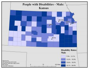 Map of Kansas showing rates of males with disabilities by county. See Kansas State Profile page for full text description.