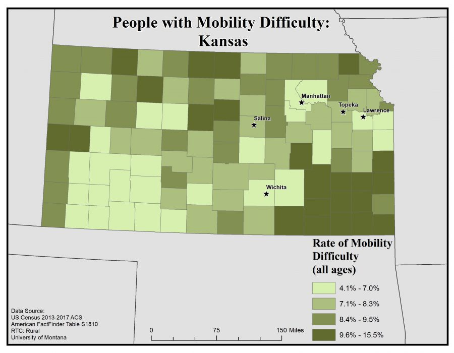Map of Kansas showing rates of people with mobility difficulty by county. See Kansas State Profile page for full text description.