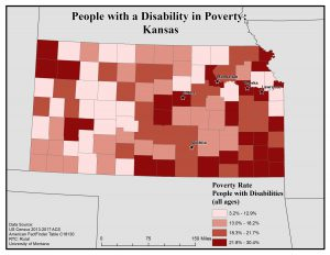 Map of Kansas showing rates of people with disabilities in poverty by county. See Kansas State Profile page for full text description.