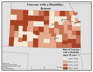 Map of Kansas showing rates of veterans with disability by county. See Kansas State Profile page for full text description.