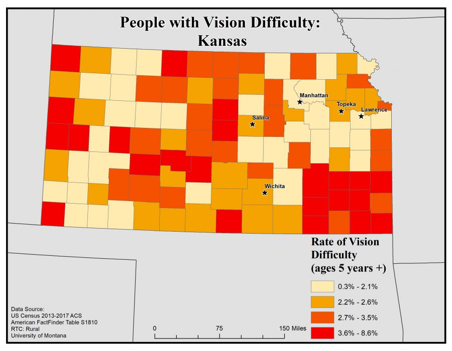 Map of Kansas showing rates of people with vision difficulty by county. See Kansas State Profile page for full text description.