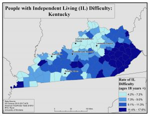 Map of Kentucky showing rates of people with IL difficulty. See Kentucky State Profile page for full text description.