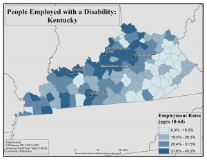 Map of Kentucky showing rates of people with a disability who are employed by county. See Kentucky State Profile page for full text description.