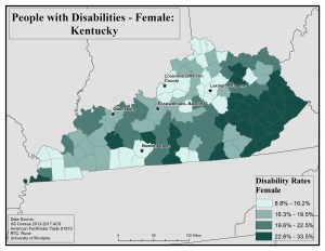 Map of Kentucky showing rates of disability among females by county. See Kentucky State Profile page for full text description.
