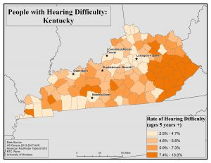Map of Kentucky showing rates of people with hearing difficulty by county. See Kentucky State Profile page for full text description.