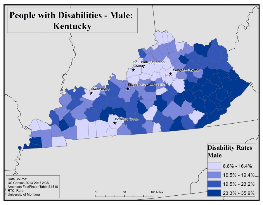 Map of Kentucky showing rates of males with disability by county. See Kentucky State Profile page for full text description.