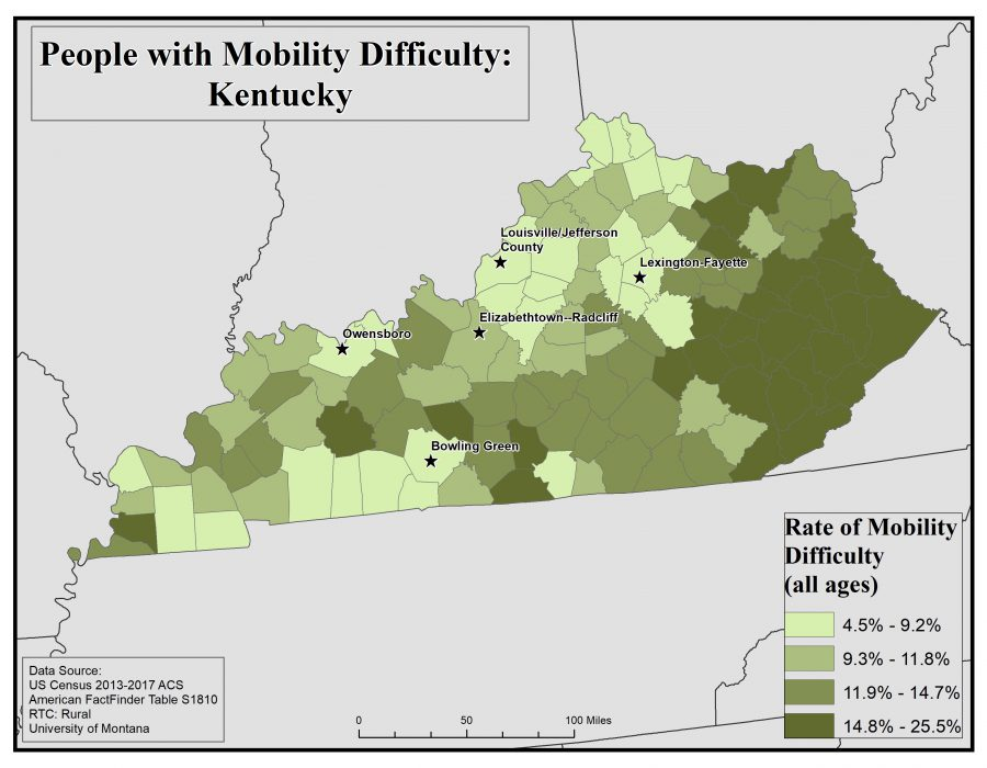 Map of Kentucky showing rates of people with mobility difficulty by county. See Kentucky State Profile page for full text description.