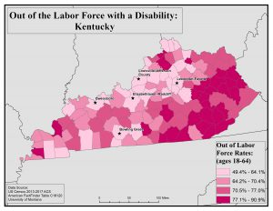 Map of Kentucky showing rates of people with disabilities who are out of the labor force by county. See Kentucky State Profile page for full text description.