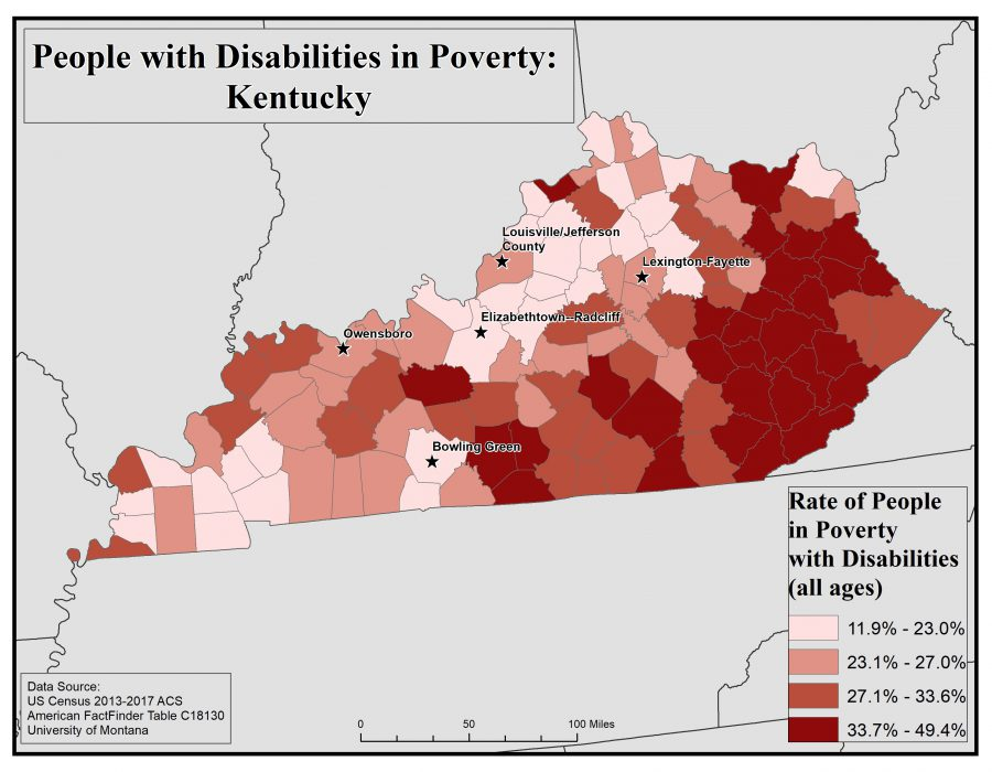 Map of Kentucky showing rates of people with disabilities in poverty by county. See Kentucky State Profile page for full text description.