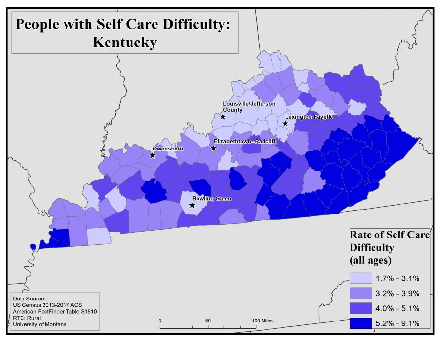 Map of Kentucky showing rates of people with self care difficulty by county. See Kentucky State Profile page for full text description.