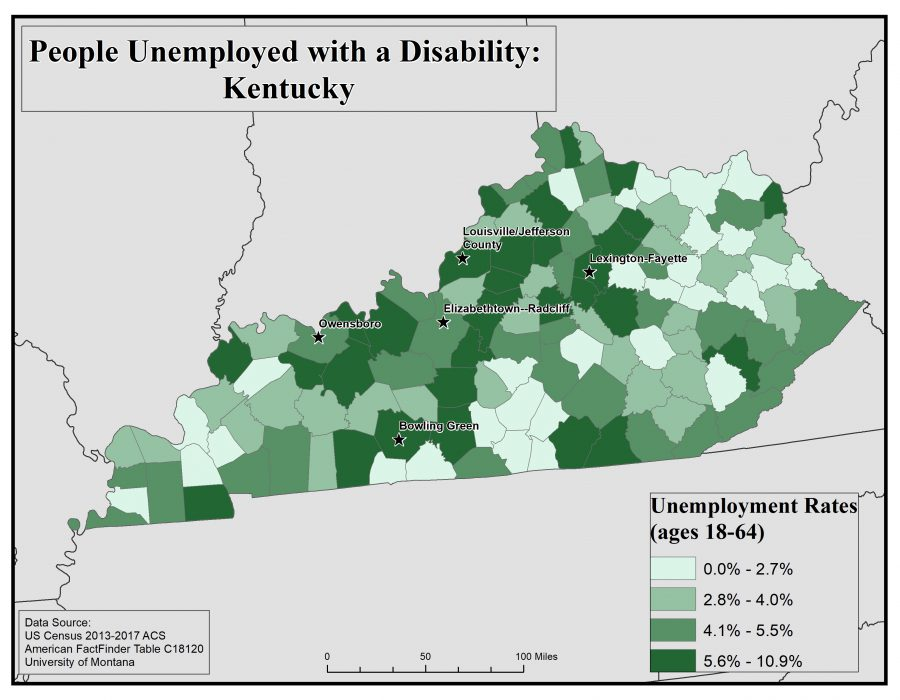 Map of Kentucky showing rates of people with disabilities who are unemployed by county. See Kentucky State Profile page for full text description.