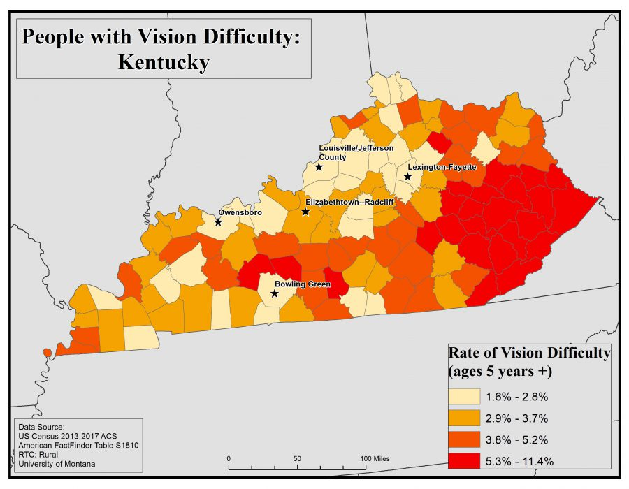 Map of Kentucky showing rates of people with vision difficulty by county. See Kentucky State Profile page for full text description.