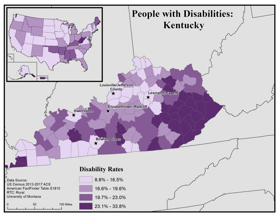 Map of Kentucky showing disability rates by county. See Kentucky State Profile page for full text description.