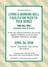 Living & Working Well Facilitator Peer-to-Peer Series invitation. See blog post for full text description.